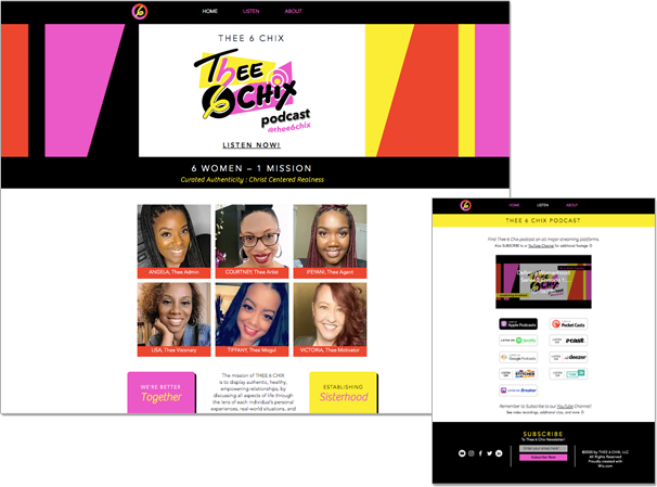 thee 6 chix website screenshots