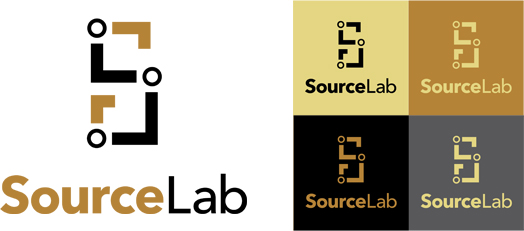 SourceLab logo - gold theme