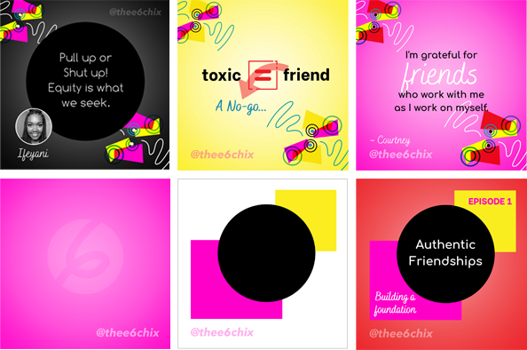 thee 6 chix social media graphics
